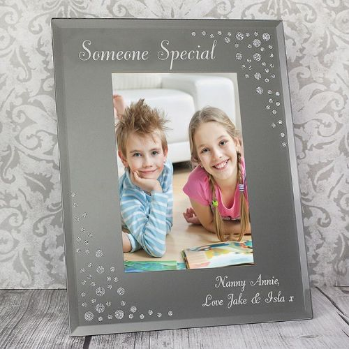 Personalised Any Message Diamante 6x4 Portrait Glass Photo Frame